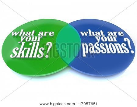 A Venn diagram of overlapping circles analyzing what are your skills and passions to help you determine a career path