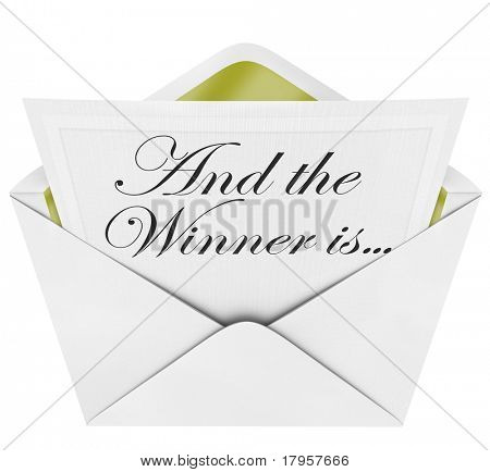 An opening envelope revealing a card containing the name of the award winner, with the words And the Winner Is...