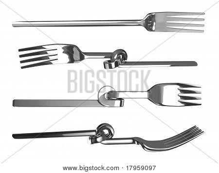 Set of knotted bent forks