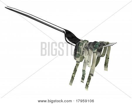 A fork full of money