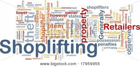 Background concept wordcloud illustration of shoplifting