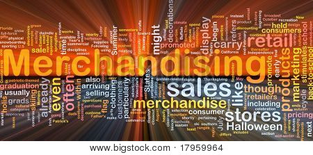 Background concept wordcloud illustration of merchandising glowing light