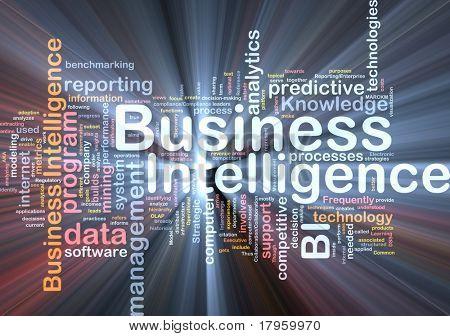 Hintergrund Konzept Wordcloud Abbildung von Business Intelligence glühende Licht