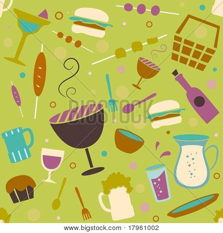 Seamless Background Illustration of Barbecue Related Items