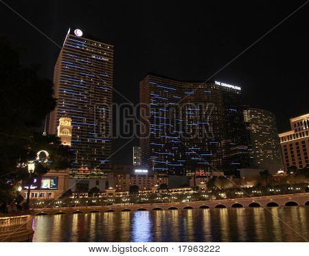 A night view of the Cosmopolitan Hotel and Casino