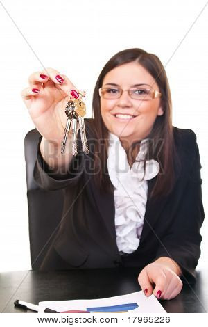 Business Woman Holds Key