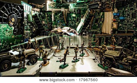 Computer Parts City Under Cyber Attack By Toy Soldiers