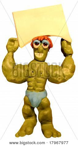Muscle man holding sign