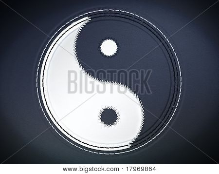 Yin Yan Stitched Symbol On Leather