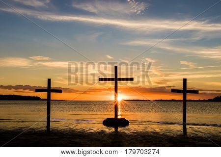 Three crosses of what Easter is about.