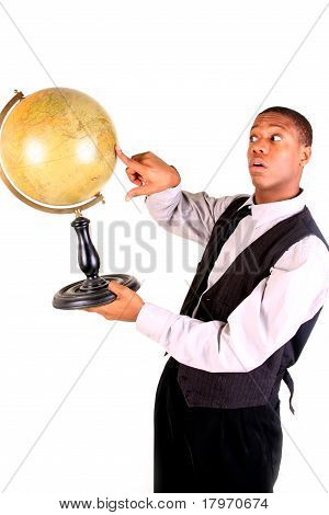 Man Pointing At Globe, Surprised