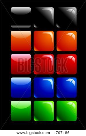 Glossy Buttons Square Black.Eps