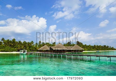 Water cafe on a tropical beach at Maldives
