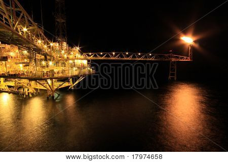 Oil and Rig in the night