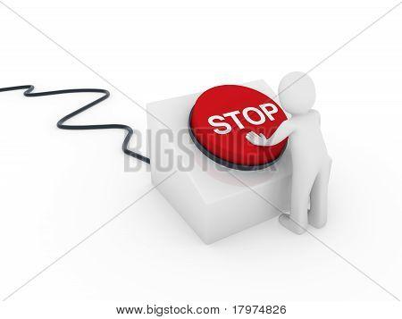 3D humano botón Stop