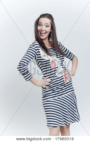 Happy Fashion Girl In Stripes Clothes