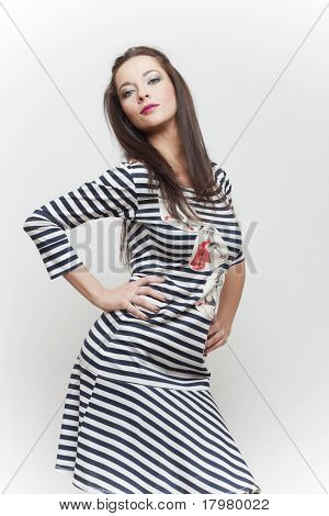 Sensual Fashion Girl In Stripes Clothes