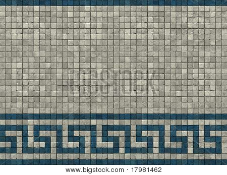 3D Render Of A Typical Greek Roman Meander Pattern In White And Orange On A Mosaic Wall