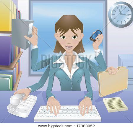 Ilustração de multitarefa de mulher de negócios