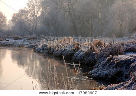 Winter landscape with river and trees in Poland
