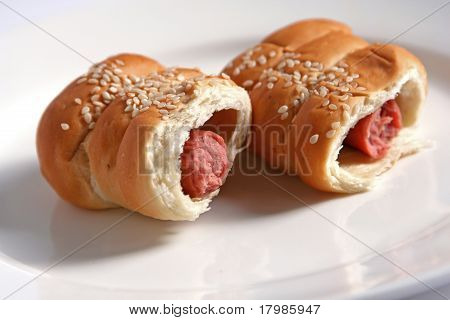 Sausage rolls in pastry