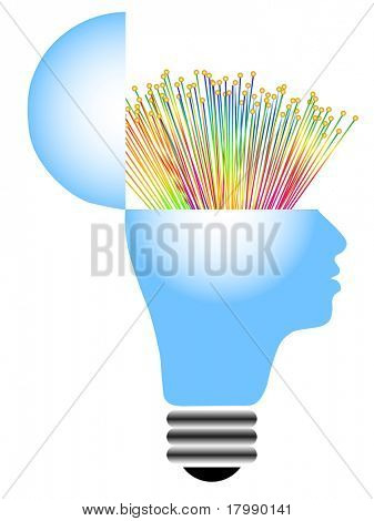 light bulb with human head