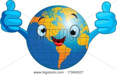 Cartoon world globe giving thumbs up.  (Western Hemisphere)