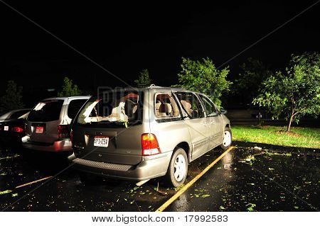 Storm Damaged Van