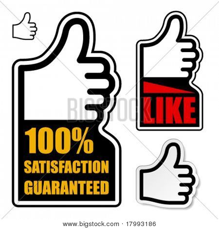 vector thumb up satisfaction guaranteed label