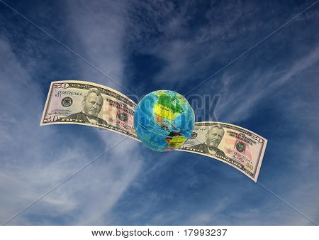 Globe  U S A And Money Flying
