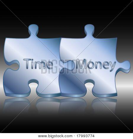 蓝色的概念性的时间和金钱的谜题