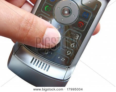 Finger Making A Call With A Mobile Telephone