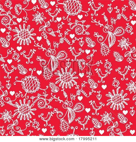 Romantic red seamless pattern with hearts