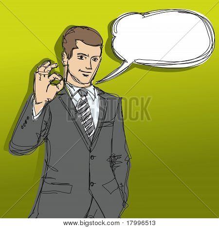 Happy Businessman Shows Ok Sketch
