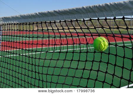Yellow Tennis Ball Hitting The Net