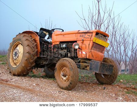 Small agricultural tractor in Golan Hills