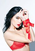 Sexy Woman With Red Lips, Long Hair In Bra, Ribbon poster