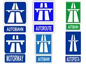 German Swiss Austrian Autobahn, French Autoroute, Spanish Autopista and British motorway signs