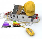 3D rendering of a house in construction, connected to a computer mouse, on top of blueprints, with a