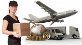 A female messenger holding a package with a world map, packages, a chronometer,  a van, a truck and