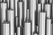 Many Different Steel Pipes Background poster
