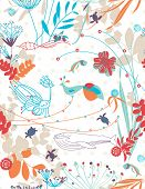 pic of sea cow  - Vector retro whimsical floral seamless pattern with children - JPG