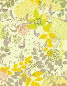 Постер, плакат: Векторный рисунок с птиц и цветов бесшовные