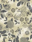 Vector seamless pattern displaying cute birds in a vintage garden.