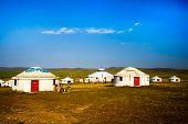 image of yurt  - Inner Mongolia yurt in the grass land - JPG