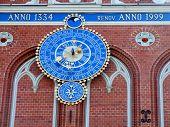 Old Clock On Riga Landmark poster