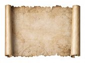 old treasure map scroll isolated 3d illustration poster