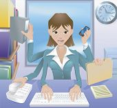 stock photo of multitasking  - A busy successful business woman multitasking in the office - JPG
