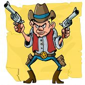 foto of sixgun  - Cute cartoon cowboy holding sixguns - JPG