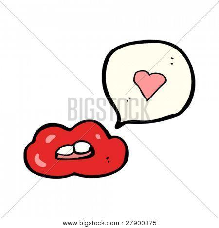 性感的嘴唇与爱的心对话气泡撅嘴